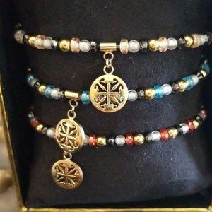 Set of 3 Rustic Cuff Beaded Bracelets